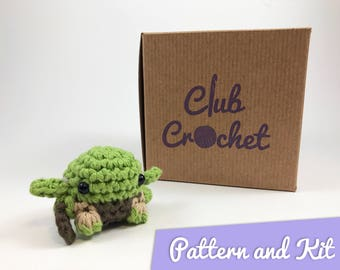 Kit to Crochet a Mini Yoda Amigurumi || Club Crochet Kits