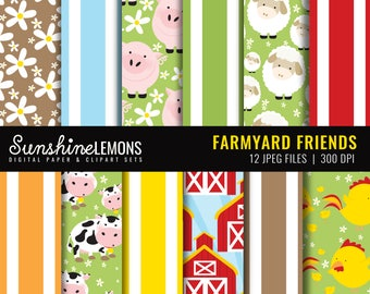 Farmyard Friends Digital Paper Pack - Set of 12 Paper - COMMERCIAL USE Read Terms Below