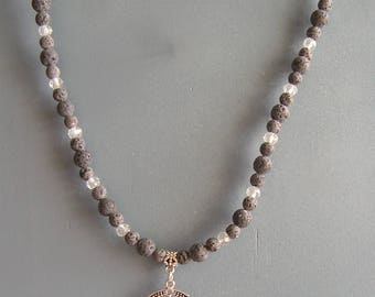 """Natural Lava Beads & Clear Crystals Chandelier Necklace 20"""" with 4"""" extension"""