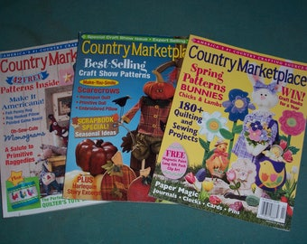 Country Marketplace Magazines...Three Copies...Vintage Craft Magazines..2004 Country Crafts Books...Complete..