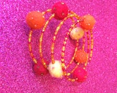 Bracelet Felt Ball Memory Wire Cuff in Bright Red Orange and Yellow-Handmade Bracelet-Ladies Gift-Gifts for Women-Gifts for her