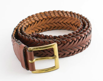 Vintage Women's Worn Distressed Tan Brown Leather Belt Waist Large 32 34 36