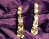 Eye Catching Vintage  Dangle Bling.Long   Rhinestone Clip  Earrings.Large Rhinestones . 1970's