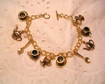 Tea Party Bracelet Gold Tone Finish