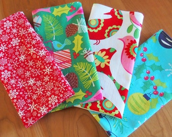 Mix and Match Christmas Napkins with Ornaments, Birds, Snowflakes, Presents in Red, Aqua Blue, Green, and Pink, Pretty Bird, Treelicious