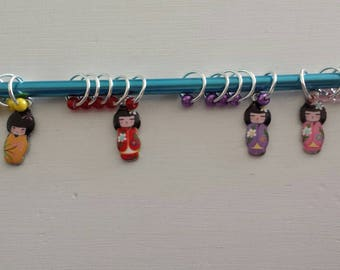 Japanese Doll Knitting Stitch Markers Set 5-Ring Stitch Markers Fits to US10*Knit Marker Set*U-PICK*Pink*Purple*Red*Yellow*Japanese Doll