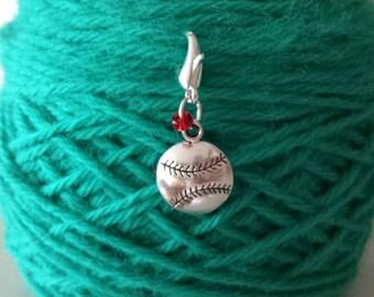 Baseball Knitting/Crochet Stitch Marker-Project Bag Zipper Charm-Purse/Planner/Cell Phone Charm-Progress Keeper-Baseball Charm
