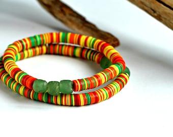 African bracelet, African beaded bracelet, African jewelry, Stretch bracelet, African bead bracelet, Record bead bracelet, Beaded bracelet