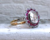 Antique 18K Yellow Gold/ Platinum Diamond and Ruby Engagement Ring - 3.04ct.