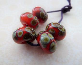 Handmade lampwork red raku glass beads, UK set