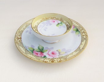 Vintage Noritake 2 tiered serving plate, hand painted pink roses and heavy gold trim on 2 tiered serving dish