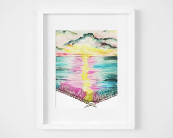 knitted sunset seascape watercolor illustration art print | gifts for knitters, mermaid, craft, yarn, magic, ocean, decoration