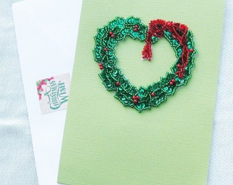 Heart Shaped Holly Wreath Christmas or Yule Handmade Card - Handmade Cards