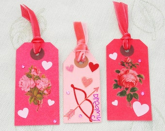 Love, Rose, Valentine's Day Hang Gift Tags - Handmade by Harmonee's Creations