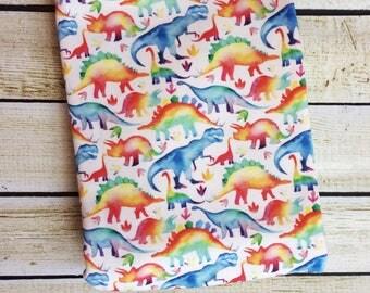 Organic Cotton Knit Rainbow Dinosaurs Swaddle Blanket. Newborn, Baby Photo Prop, Baby Shower Gift, Swaddling Blanket