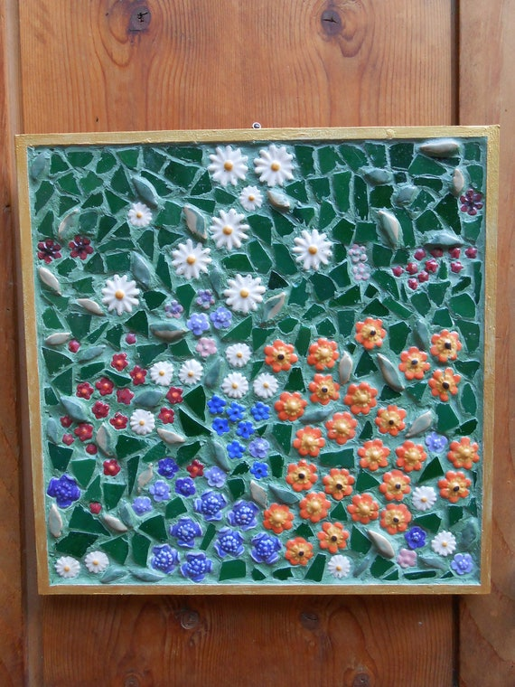 Ceramic Tile Mosaic Klimt Flower Garden Inspired