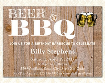 Beer and BBQ Printable Birthday Invitations, Adult Party Backyard Barbecue, Rustic Wood Invites, Guys Party, Womens Bithday, Any Age, DIY