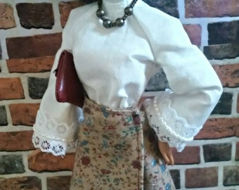 Vintage Print Wrap Skirt w/ Blouse and Accessories for Barbie or similar fashion doll