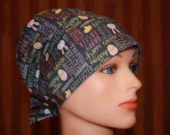 Scrub Hats, Tie Back Scrub Hat/Chemo Hat/Womens scrub hat/Surgical Scrub Hat, Scrub cap--Happy Easter