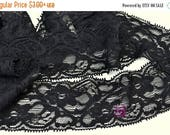 SALE 2, 5, and 10 Yards BLACK Stretch Lace 2 Inch Wide - Baby Headband Stretch Lace - Lingerie - Elastic Lace - DIY Garters - Wholesale Supp