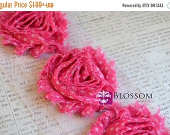 HOLIDAY SALE 1/2 or 1 Yard Increment - Pink Dots - Chiffon Shabby Rose Trim - Headband Flowers - Scrapbooking