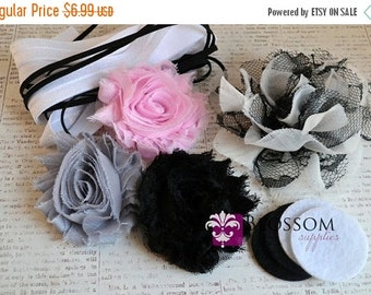 HOLIDAY SALE DIY Headband Making Kit - Classic Collection - Chiffon Frayed Flowers - Shabby Rose Trim - Flower Headbands - Pink White Black