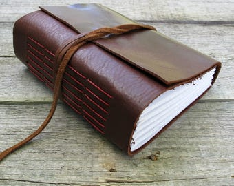 Leather journal / red and brown / 320 pages