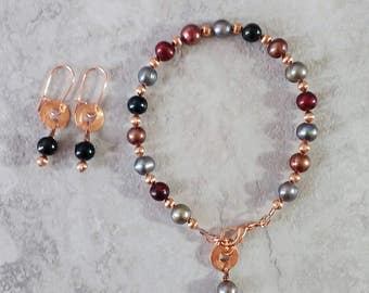 Handmade jewel tone freshwater pearl bracelet with copper accents, and matching earrings, ready to ship, gift ready, free domestic shipping