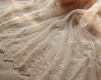 Ivory Lace Fabric Vintage Style Water the flowers Lace Tulle Embroidered Lace Bridal Lace Fabric Curtain Scarf Fabric- 1 yard (W153)