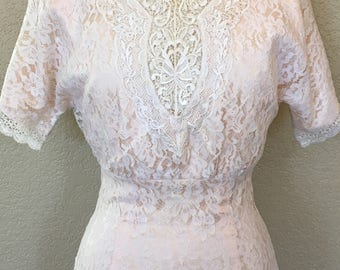 Vintage Jessica McClintock Light Pink and White Lace Dress