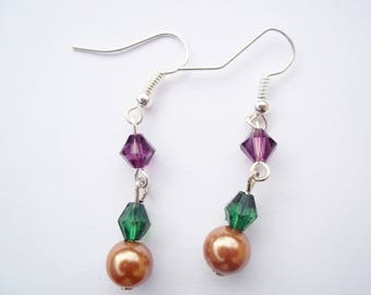 Green, gold and purple earrings