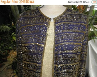 1/2 OFF True Navy Blue L/S Vintage Gold Sequined Long Jacket by Nite Waves, 80's, Evening, Nautical, Holiday, sz M-L