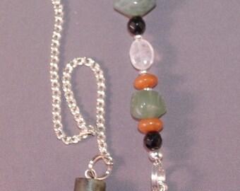 SPRING CLEARANCE Jade, Moss Agate and Dragon Gemstone New Age Dowsing Pendulum Magick Pagan 124847P