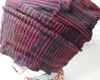 Striped Cozy-Sweater Cap