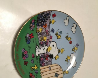 friends are forever collector plate peanuts danbury mint snoopy and woodstock