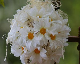 Shabby Chic Daisy Kissing Ball Bouquet White and Yellow
