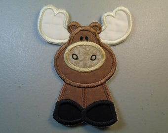 Moose  iron on or sew on applique patch