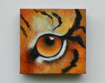 Original oil painting on canvas, tiger painting, wall art, home decor - Eye See You series fourteen