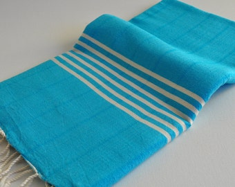 Beach towel peshtemal Towel for bath and beach blue ivory striped