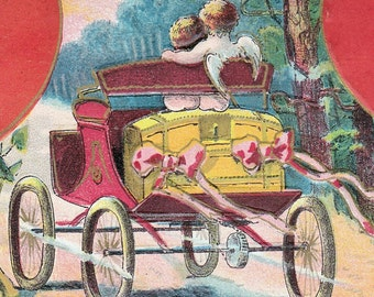 """Ca. 1909 """"Lovers in a Horseless Carriage"""" Valentine Greetings Postcard - 58"""