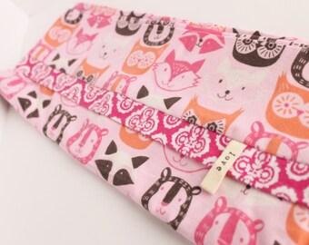 Woodland Pillowcase SINGLE Pink Owl Fox Bears Youth Girl Flannel Bedding Pillow Cotton Adoption Fundraiser