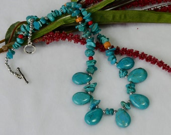 18 Inch Dark Turquoise and Silver Teardrop Necklace with Earrings