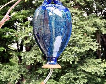 Hummingbird Feeder, Bird Feeder, Ceramic Bird Feeder,Wheel Thrown Pottery, Glazed in Indigo Blue.