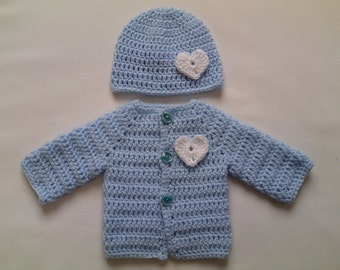Crochet Baby Sweater and Hat PATTERN, with crochet hearts, blue baby sweater coat jacket cardigan beanie PDF file