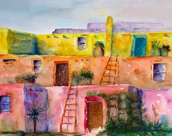 adobe new mexico santa fe southwest colorful native painting print watercolor canvas taos, pueblo, native american, village