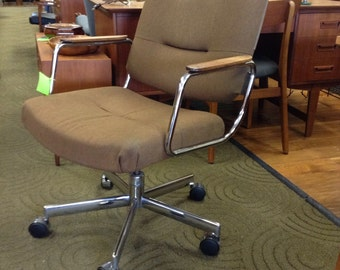 Vintage Chrome Rolling Desk Chair Teak Arms by Holga san Mateo Store