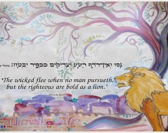 Proverbs 28:1- originally  handpainted on authentic parchment- ready to print-pdf 13x19""