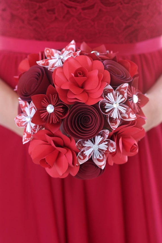 Paper flower bouquet red flowers paper gift paper flower