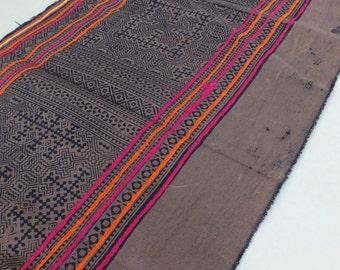 Handprinted Batik  cotton Vintage Style New fabrics,  Indigo Blue, Hmong, Table runner- from Thailand