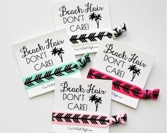 Bachelorette Hair Ties / Beach Hair Don't Care! Hair Ties / Party / Wristlet Tie / Arrow Feather Hair Ties / Girls Weekend / Spring Break